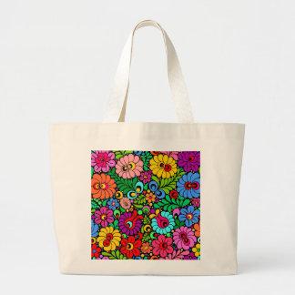 Folk art floral canvas tote shopping bag