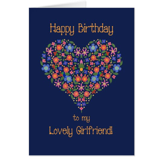 Folk Art Floral Heart Birthday Card for Girlfriend