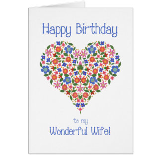 Folk Art Floral Heart Birthday Card for Wife