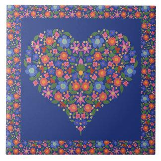 Folk Art Floral Heart on Royal Blue Ceramic Tile