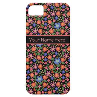 Folk Art Floral on Black iPhone 5 Case-Mate Case