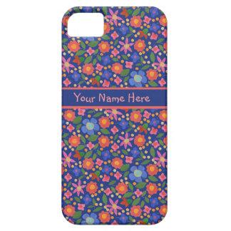 Folk Art Floral on Blue iPhone 5/5s Case-Mate Case