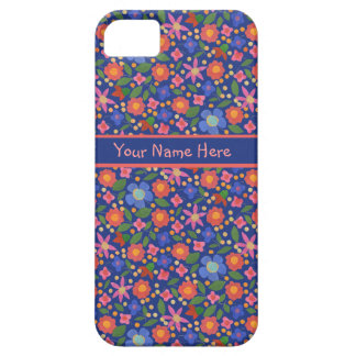Folk Art Floral on Blue iPhone 5/5s Case-Mate Case Case For The iPhone 5