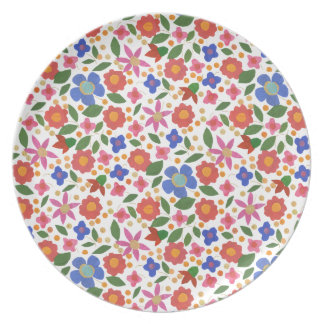 Folk Art Floral on White Melamine Dinner Plate