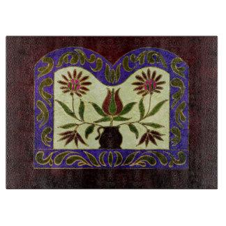 Folk Art Floral Painted Purple Wood Cutting Board