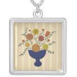 Folk Art Flower Arrangement Necklace
