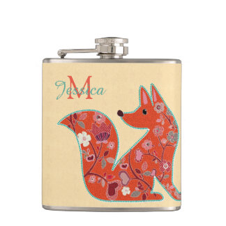 Folk Art Flower Pattern Fox Hip Flask