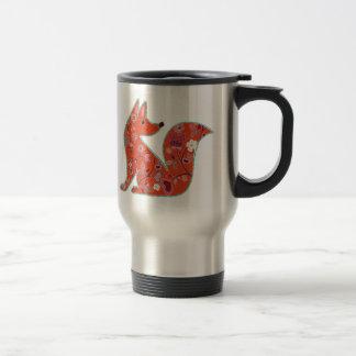 Folk Art Flower Pattern Fox Travel Mug