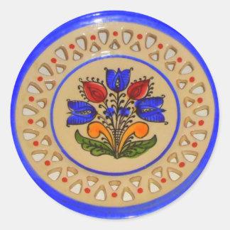 Folk Art Flowers Classic Round Sticker