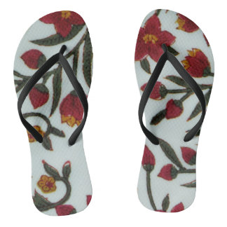 Folk art flowers flip flops