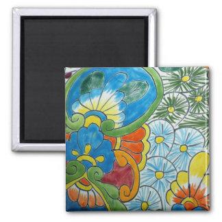 Folk Art Flowers Square Magnet