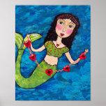 Folk Art Green Mermaid String of Red Hearts Poster