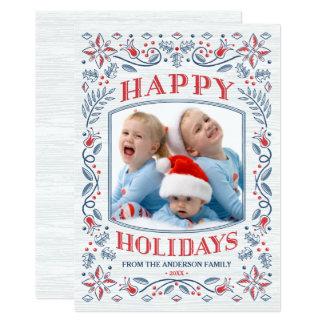 Folk Art Happy Holidays Christmas Card 13 Cm X 18 Cm Invitation Card