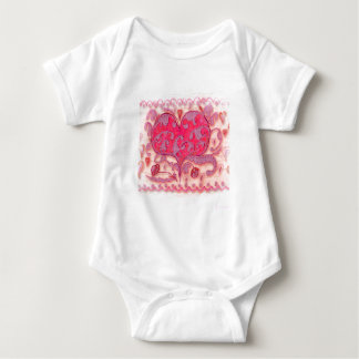 Folk Art Heart with leaves and flowers Baby Bodysuit