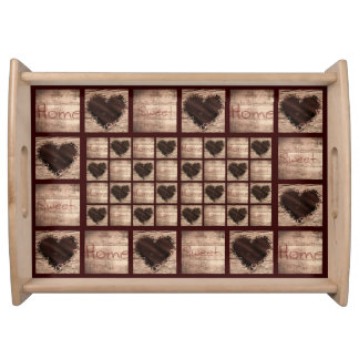 Folk Art Home Collage Wooden Hearts Serving Tray