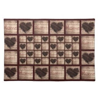 Folk Art Home Sweet Home Collage Hearts Placemat