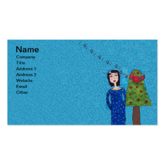 Folk Art Lady Apple Tree Cute singing Red Bird Pack Of Standard Business Cards