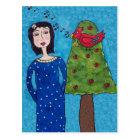 Folk Art Lady Apple Tree Red Bird Musical Notes Postcard