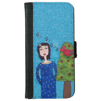 Folk Art Lady Apple Tree Red Bird Musical Notes iPhone 6 Wallet Case