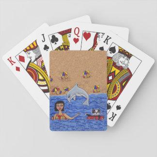 Folk Art Lady Cat Beach Ocean Dolphin Swimming Poker Deck