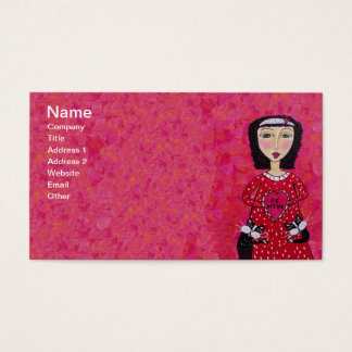 Folk Art Lady two Loving Black Cats Red Heart Business Card