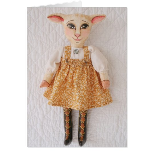 Folk Art Lamb Doll Easter Card