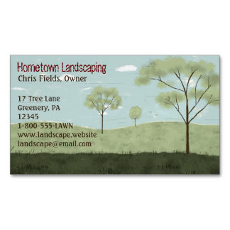 Folk Art Landscape | Trees and Fields Magnetic Business Cards