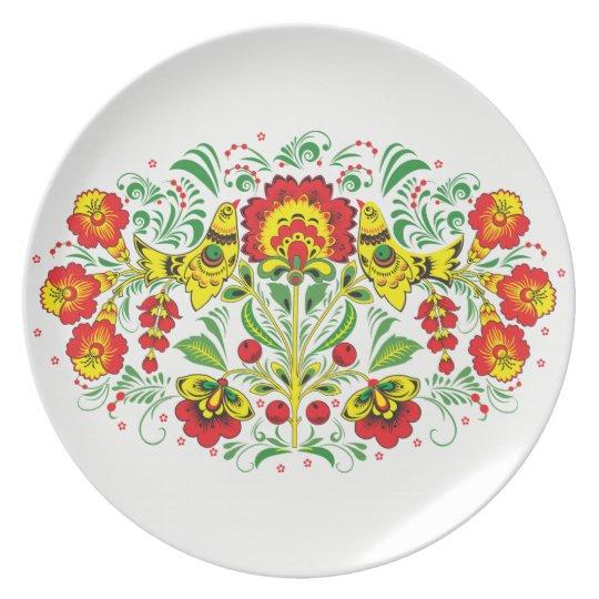 Folk Art Melamine Plate