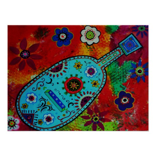 Folk Art Mexican Guitar Painting Poster