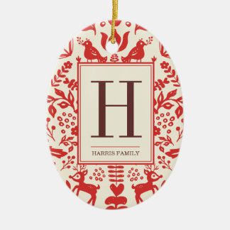 Folk Art Monogram & Photo Holiday Ornament