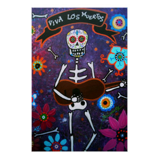 FOLK ART MUSICIAN DAY OF THE DEAD PAINTING POSTER
