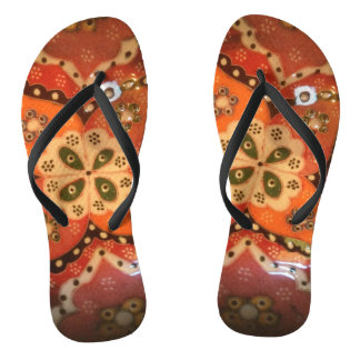 Folk art oriental ceramic flowers flip flops