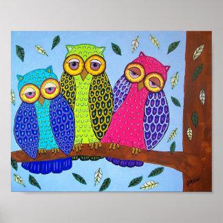 Folk Art Owl Print Poster