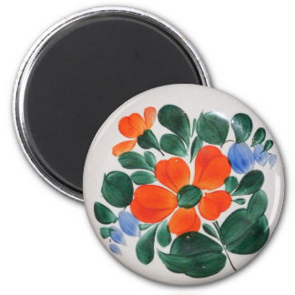 Folk Art Plate 6 Cm Round Magnet