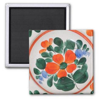 Folk Art Plate Square Magnet