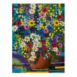 FOLK ART Pot Of Daisy's BY LORI EVERETT postcard