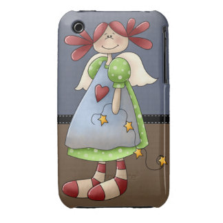 Folk Art Raggedy Doll Girly Retro iPhone 3 Cases