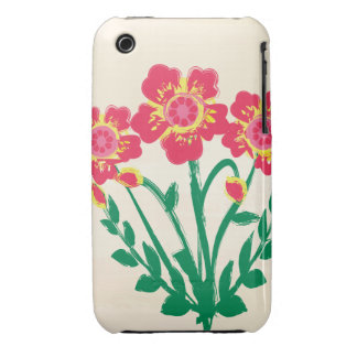 Folk art red and yellow flowers iPhone 3 cases