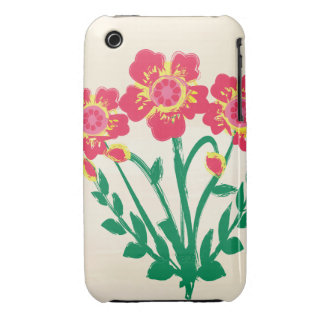 Folk art red and yellow flowers Case-Mate iPhone 3 case