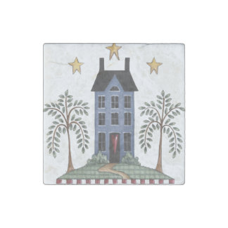 Folk Art Saltbox House & Willows Magnet Stone Magnet