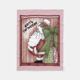 Folk Art Santa Christmas Fleece Blanket
