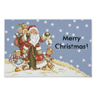 Folk Art Santa Kids Christmas Snowflakes Poster