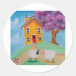 folk art sheep classic round sticker