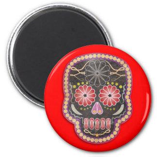 Folk Art Skull - day of the dead 6 Cm Round Magnet