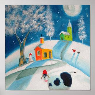 FOLK ART SNOW SCENE COW MOON POSTER
