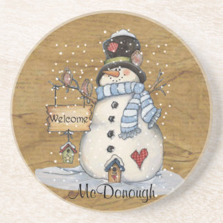 Folk Art Snowman on Old Newspaper Coaster