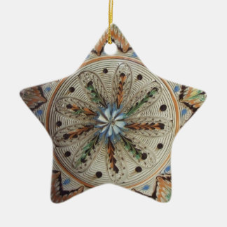 Folk Art Star Flowers Christmas Ornament