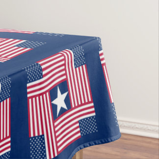 Folk Art Style American Flag Tablecloth