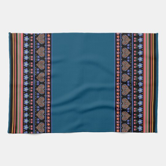 Folk Art Style Border Kitchen Towel or Tea