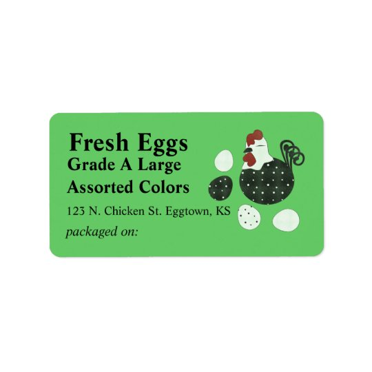 Folk Art Style Chicken Egg Label